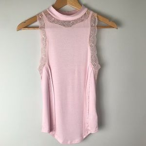 Free People • Dale Tank Lace Pink Mock Neck Small